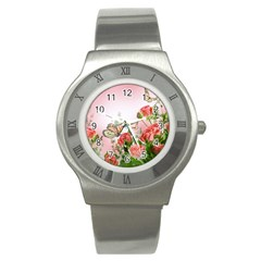 Flora Butterfly Roses Stainless Steel Watch