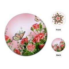 Flora Butterfly Roses Playing Cards (round)