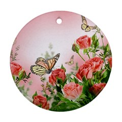 Flora Butterfly Roses Round Ornament (two Sides)