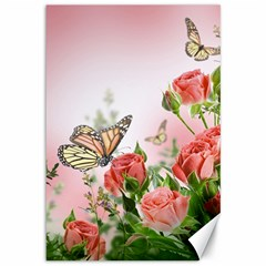 Flora Butterfly Roses Canvas 12  X 18