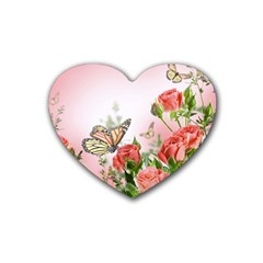 Flora Butterfly Roses Rubber Coaster (heart)
