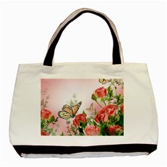 Flora Butterfly Roses Basic Tote Bag (two Sides)