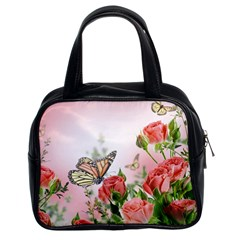 Flora Butterfly Roses Classic Handbags (2 Sides)