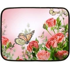Flora Butterfly Roses Fleece Blanket (mini)