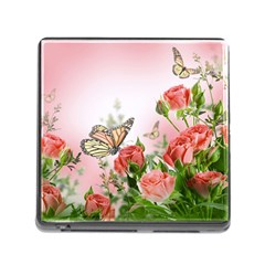 Flora Butterfly Roses Memory Card Reader (square)