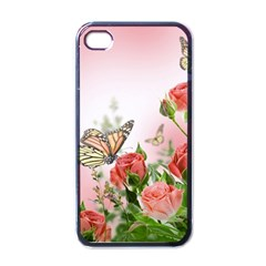 Flora Butterfly Roses Apple Iphone 4 Case (black)