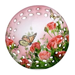 Flora Butterfly Roses Round Filigree Ornament (two Sides)