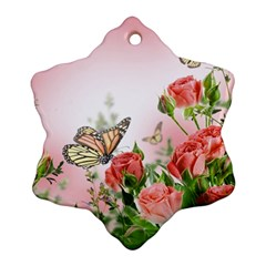 Flora Butterfly Roses Snowflake Ornament (two Sides)