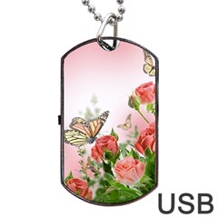 Flora Butterfly Roses Dog Tag Usb Flash (one Side)