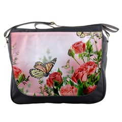 Flora Butterfly Roses Messenger Bags