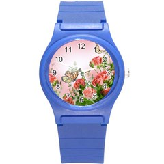 Flora Butterfly Roses Round Plastic Sport Watch (s)