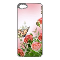 Flora Butterfly Roses Apple Iphone 5 Case (silver)