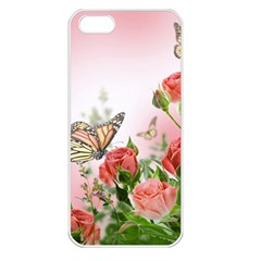 Flora Butterfly Roses Apple Iphone 5 Seamless Case (white)
