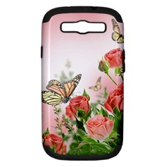 Flora Butterfly Roses Samsung Galaxy S Iii Hardshell Case (pc+silicone)