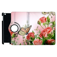 Flora Butterfly Roses Apple Ipad 3/4 Flip 360 Case