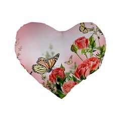 Flora Butterfly Roses Standard 16  Premium Heart Shape Cushions