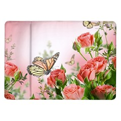 Flora Butterfly Roses Samsung Galaxy Tab 10 1  P7500 Flip Case