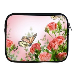 Flora Butterfly Roses Apple Ipad 2/3/4 Zipper Cases