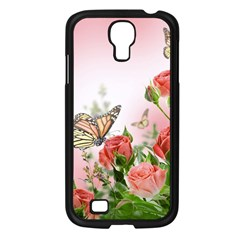 Flora Butterfly Roses Samsung Galaxy S4 I9500/ I9505 Case (black)