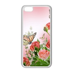 Flora Butterfly Roses Apple Iphone 5c Seamless Case (white)
