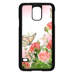 Flora Butterfly Roses Samsung Galaxy S5 Case (black)