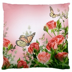 Flora Butterfly Roses Large Flano Cushion Case (one Side)
