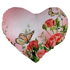 Flora Butterfly Roses Large 19  Premium Flano Heart Shape Cushions