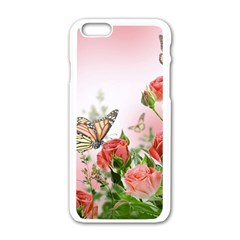 Flora Butterfly Roses Apple Iphone 6/6s White Enamel Case