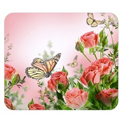 Flora Butterfly Roses Double Sided Flano Blanket (small)