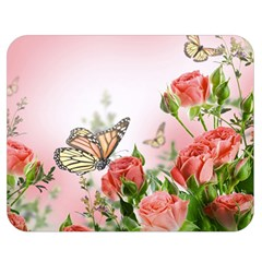 Flora Butterfly Roses Double Sided Flano Blanket (medium)
