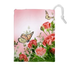 Flora Butterfly Roses Drawstring Pouches (extra Large)