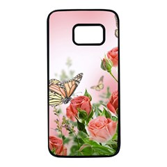 Flora Butterfly Roses Samsung Galaxy S7 Black Seamless Case