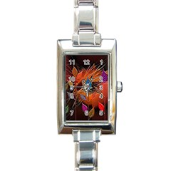 Colorful Leaves Rectangle Italian Charm Watch