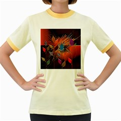 Colorful Leaves Women s Fitted Ringer T Shirts