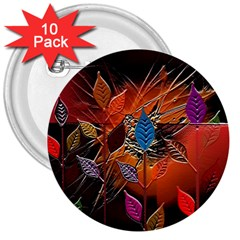 Colorful Leaves 3  Buttons (10 Pack)