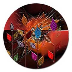 Colorful Leaves Magnet 5  (round)