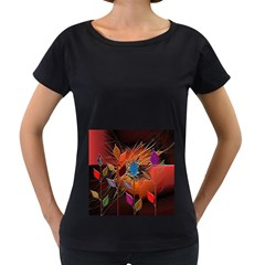 Colorful Leaves Women s Loose Fit T Shirt (black)