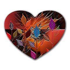 Colorful Leaves Heart Mousepads