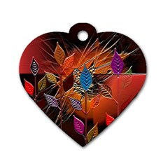 Colorful Leaves Dog Tag Heart (two Sides)