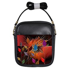 Colorful Leaves Girls Sling Bags