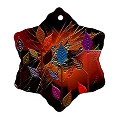 Colorful Leaves Snowflake Ornament (two Sides)