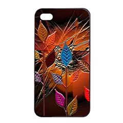 Colorful Leaves Apple Iphone 4/4s Seamless Case (black)