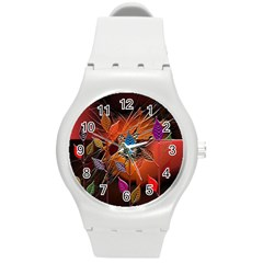 Colorful Leaves Round Plastic Sport Watch (m)