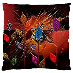 Colorful Leaves Large Cushion Case (two Sides)