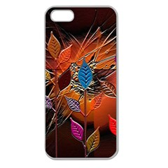 Colorful Leaves Apple Seamless Iphone 5 Case (clear)