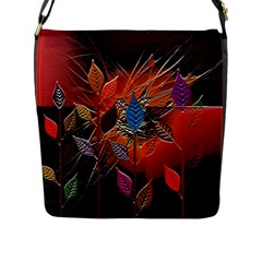 Colorful Leaves Flap Messenger Bag (l)