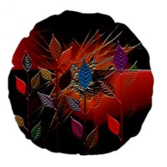 Colorful Leaves Large 18  Premium Flano Round Cushions