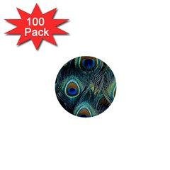 Feathers Art Peacock Sheets Patterns 1  Mini Buttons (100 Pack)