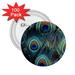 Feathers Art Peacock Sheets Patterns 2 25  Buttons (100 Pack)