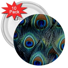 Feathers Art Peacock Sheets Patterns 3  Buttons (10 Pack)